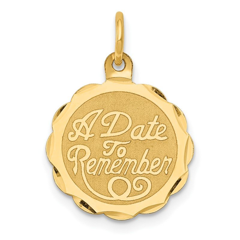 Quality Gold 14K A DATE TO REMEMBER Disc Charm