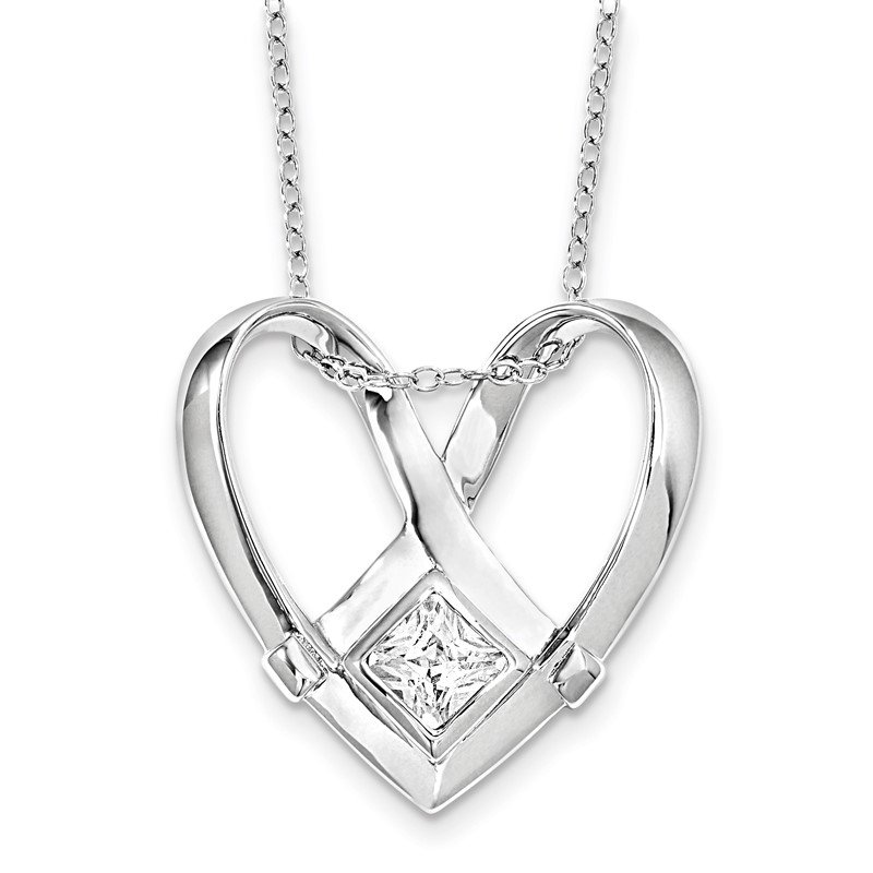 Quality Gold Sterling Silver CZ Captivated 18in. Necklace