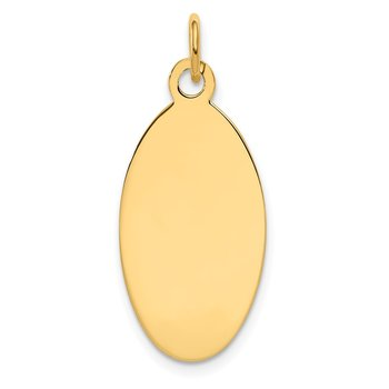 14k Plain .018 Gauge Engravable Elliptical Disc Charm