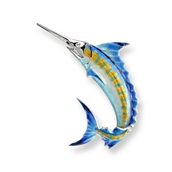 Blue Marlin Brooch-Pendant.Sterling Silver-White Sapphires