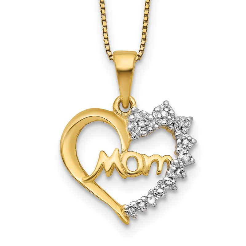 Quality Gold Sterling Silver Rhodium-plated & Vermeil Diam. Mom Necklace