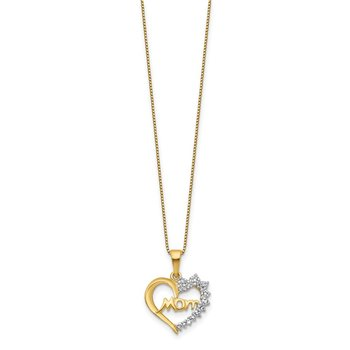 Sterling Silver Rhodium-plated & Vermeil Diam. Mom Necklace