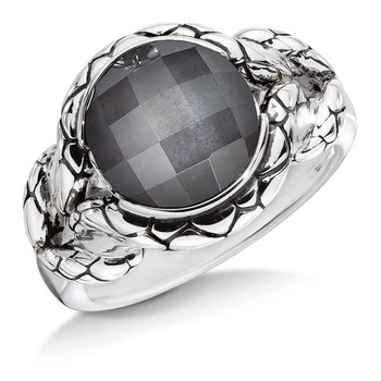 Sterling silver and hematite fusion ring