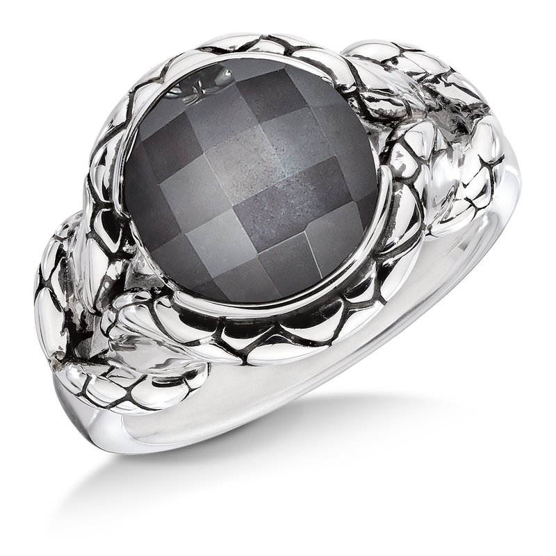 Colore SG Sterling silver and hematite fusion ring