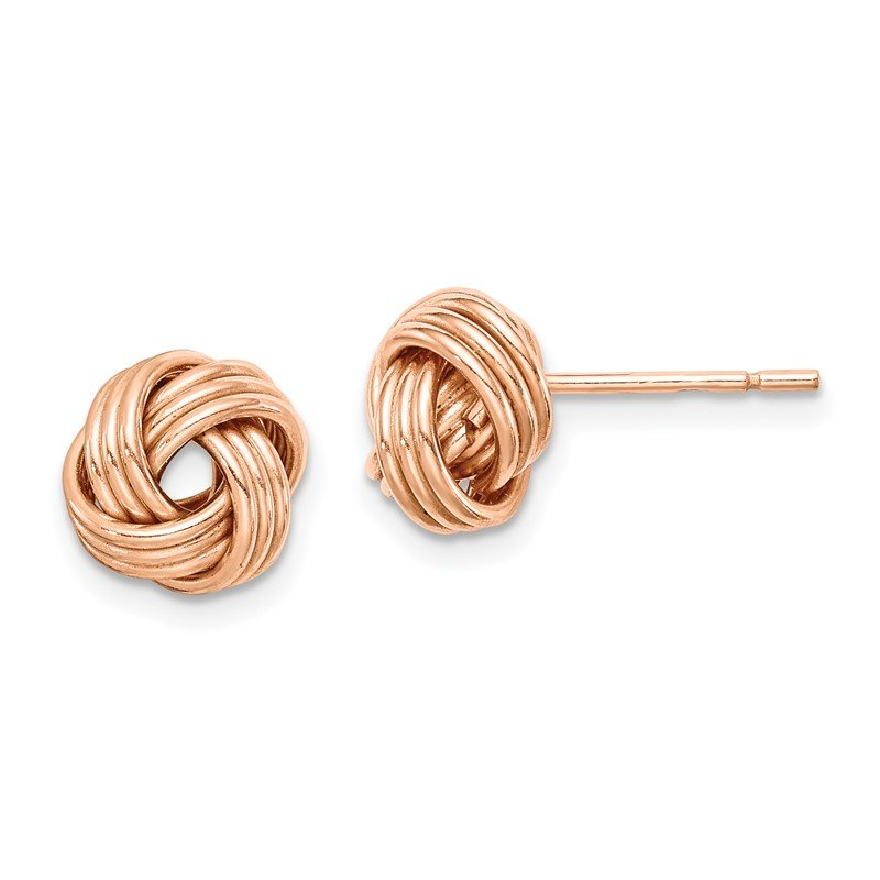 Quality Gold Sterling Silver Rose Tone Love Knot Post Earrings