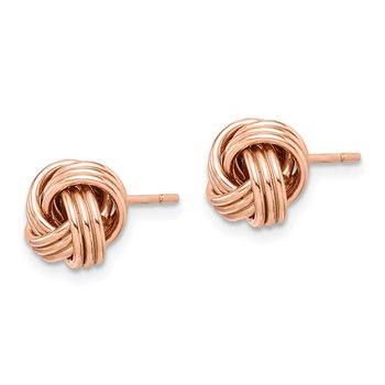 Sterling Silver Rose Tone Love Knot Post Earrings