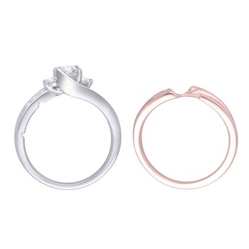 1/2ctw 14k White and Rose Gold Bridal Set