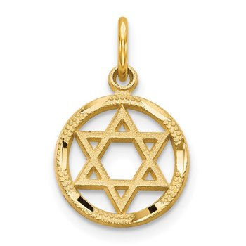 14k Solid Polished Star of David Charm