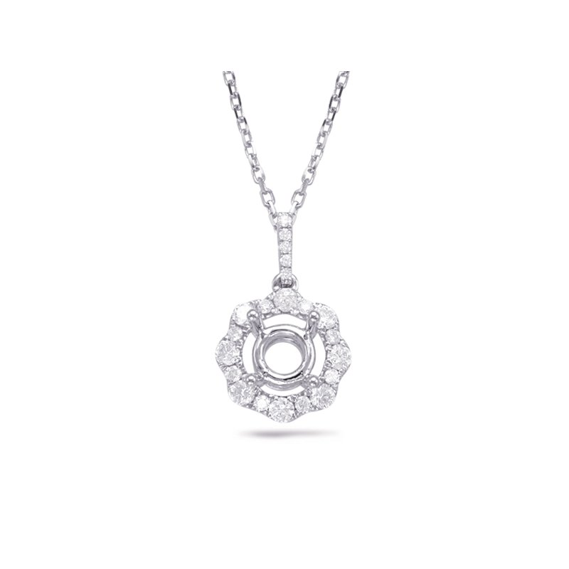 S. Kashi  & Sons White Gold Diamond Pendant For 1.5ct Rou