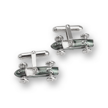 Sterling Silver Racecar T-Bar Cufflinks-Gray.