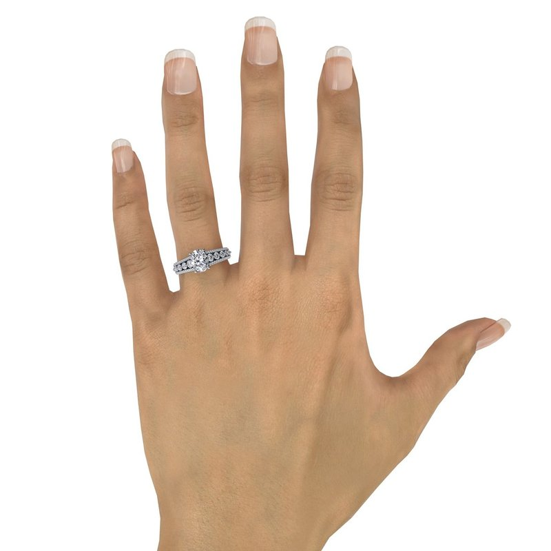 Classic Oval Diamond Solitaire Engagement Ring With Triple-Row Diamond Band