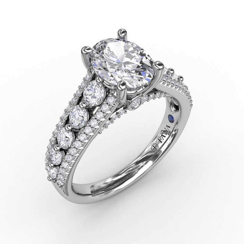 Fana Classic Oval Diamond Solitaire Engagement Ring With Triple-Row Diamond Band