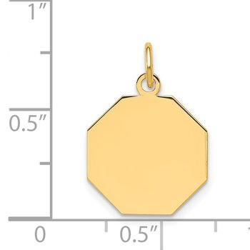 14k Plain .009 Gauge Engravable Octagonal Disc Charm