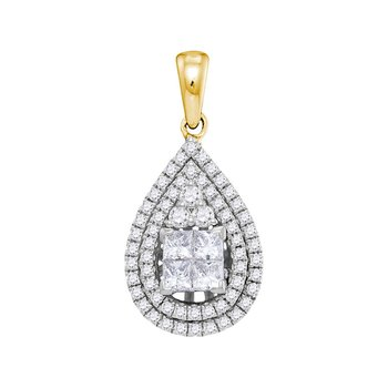 14kt Yellow Gold Womens Princess Diamond Teardrop Cluster Pendant 1.00 Cttw