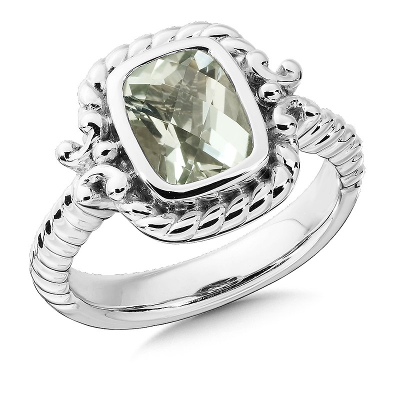 Colore Sg Sterling Silver and Green Amethyst Ring