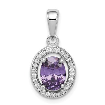 Sterling Silver Rhod-plated w/ Purple and White CZ Oval Pendant