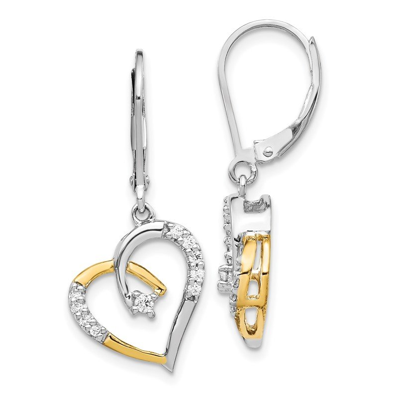 Quality Gold 14k Yellow and White Gold Diamond Heart Leverback Earrings