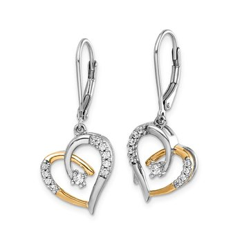 14k Yellow and White Gold Diamond Heart Leverback Earrings