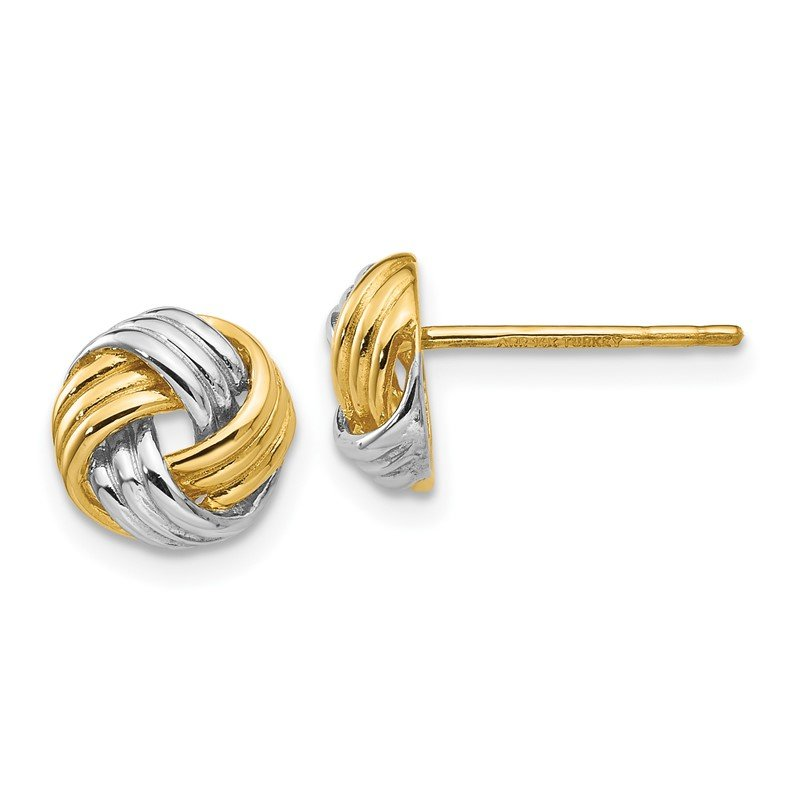 Quality Gold 14K and Rhodium Polished Love Knot Post Earrings