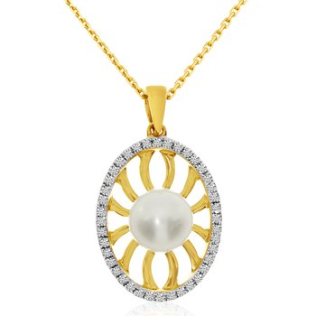14k Yellow Gold Freshwater Cultured Pearl And Single Cut Diamond Pendant