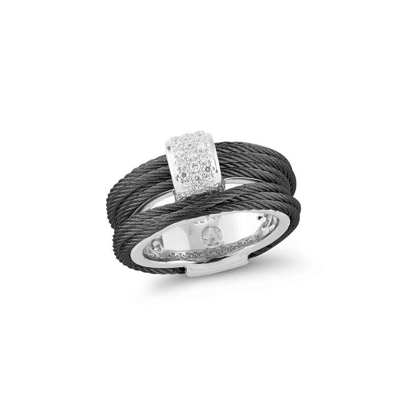 ALOR Black Cable Petite Simple Stack Ring with 18kt White Gold & Diamonds