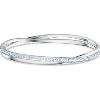 Twist Rows Bracelet, Blue, Rhodium plated