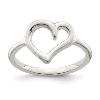 Sterling Silver Polished Heart Ring