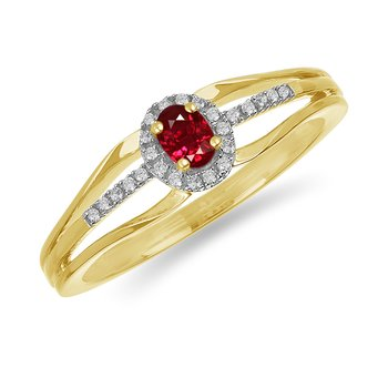 10K YG and diamond and Ruby halo style birthstone ring