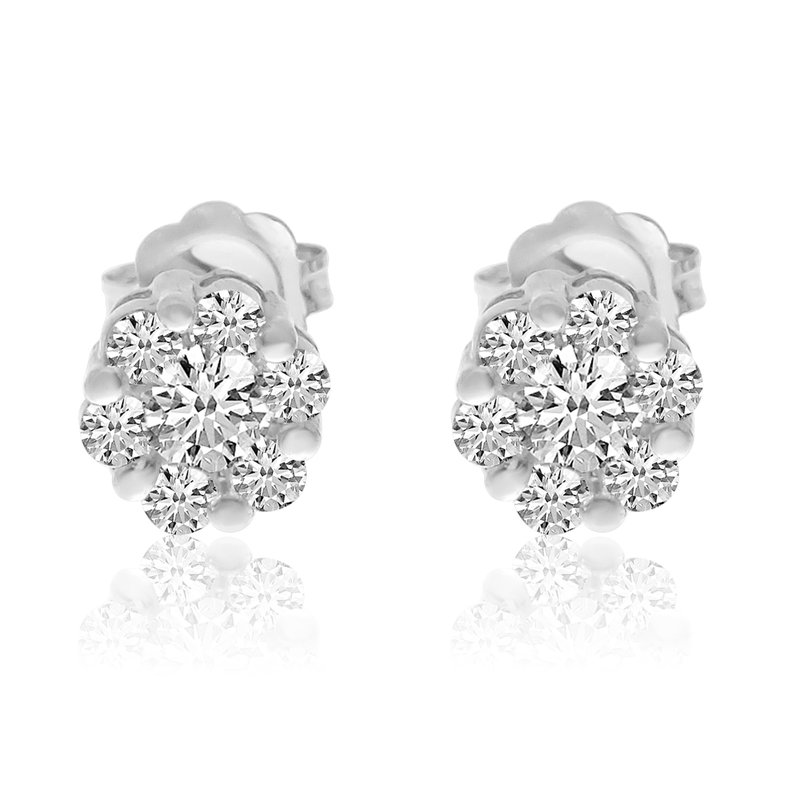 Color Merchants 14k White Gold Diamond Clustaire Earings