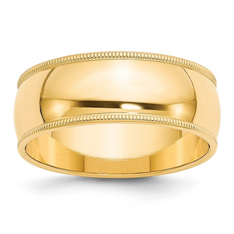 Quality Gold 14KY 8mm Milgrain Half Round Band Size 10