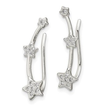Sterling Silver CZ Star Ear Climber Earrings