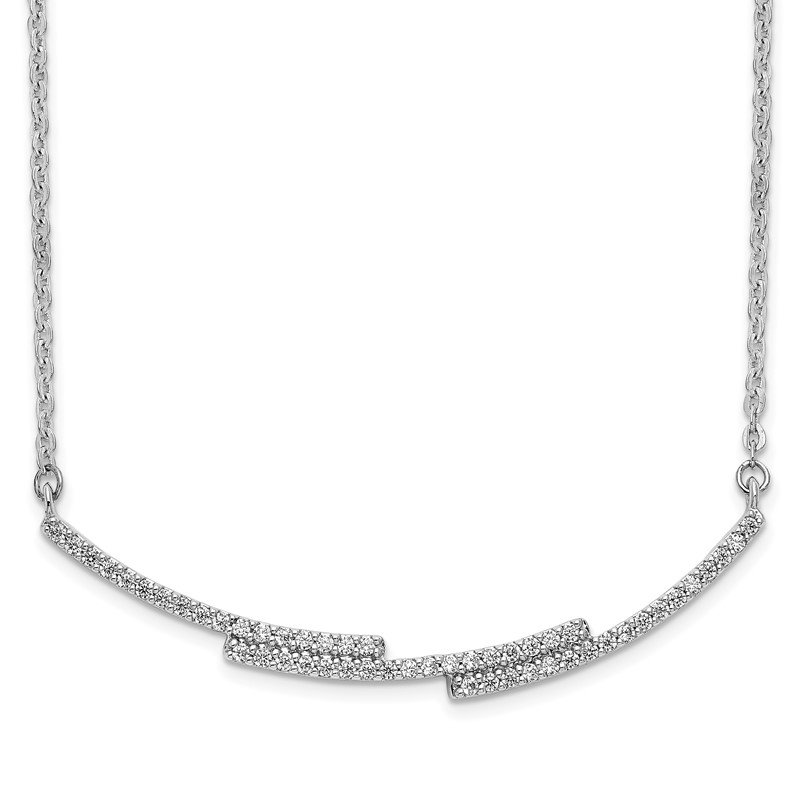 Quality Gold 14k White Gold Diamond Curved Bar Necklace