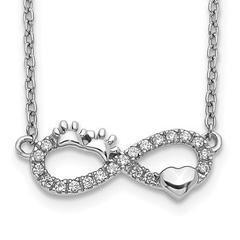 14k White Gold Diamond Infinity Pawprint/Heart 18 inch Necklace