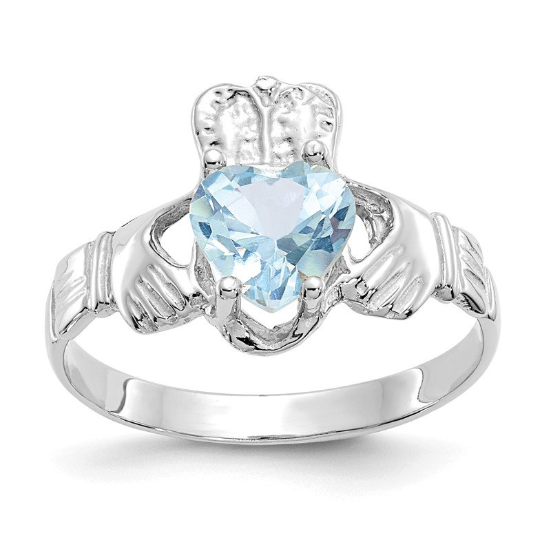 14k White Gold March CZ Birthstone Claddagh Ring