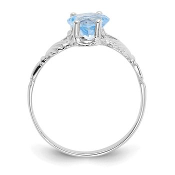 14k White Gold March Birthstone Claddagh Ring