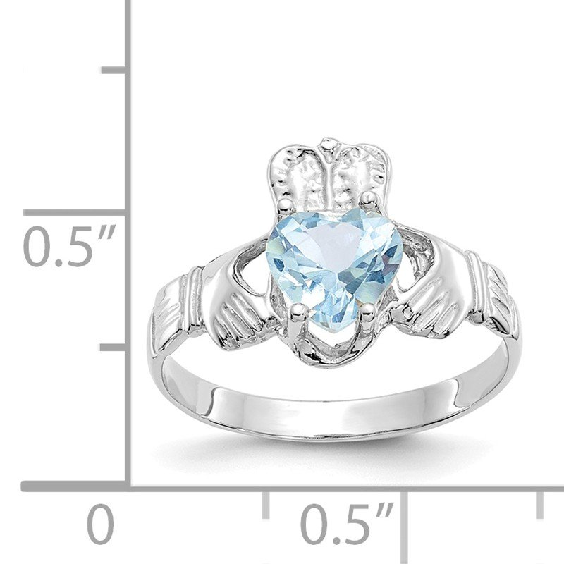 Quality Gold 14k White Gold March CZ Birthstone Claddagh Ring