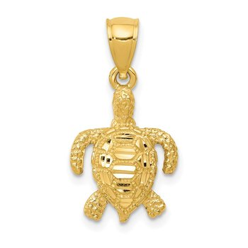14k Polished and Textured Diamond-cut Sea Turtle Pendant