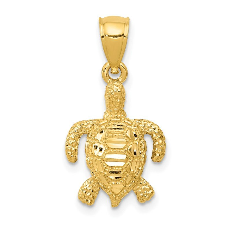 Quality Gold 14k Polished and Textured Diamond-cut Sea Turtle Pendant