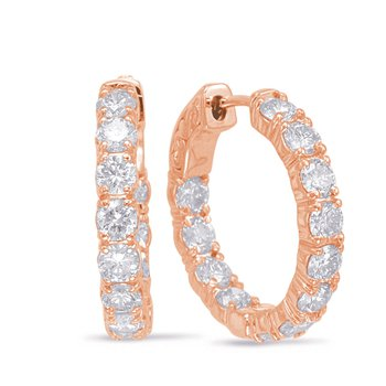 Rose Gold Hoop Earring- 4 Prongs