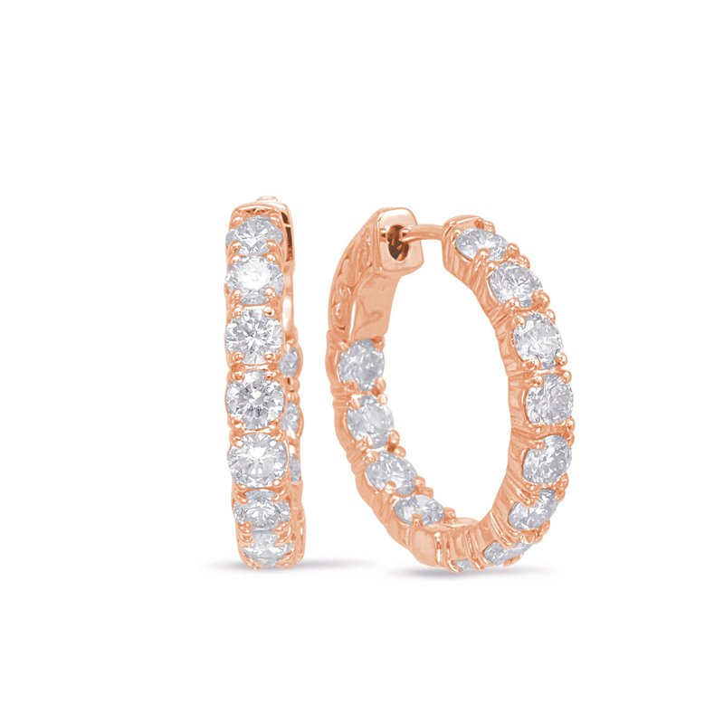 S. Kashi  & Sons Rose Gold Hoop Earring- 4 Prongs