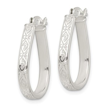 Sterling Silver Patterned 3mm Teardrop Hoop Earrings