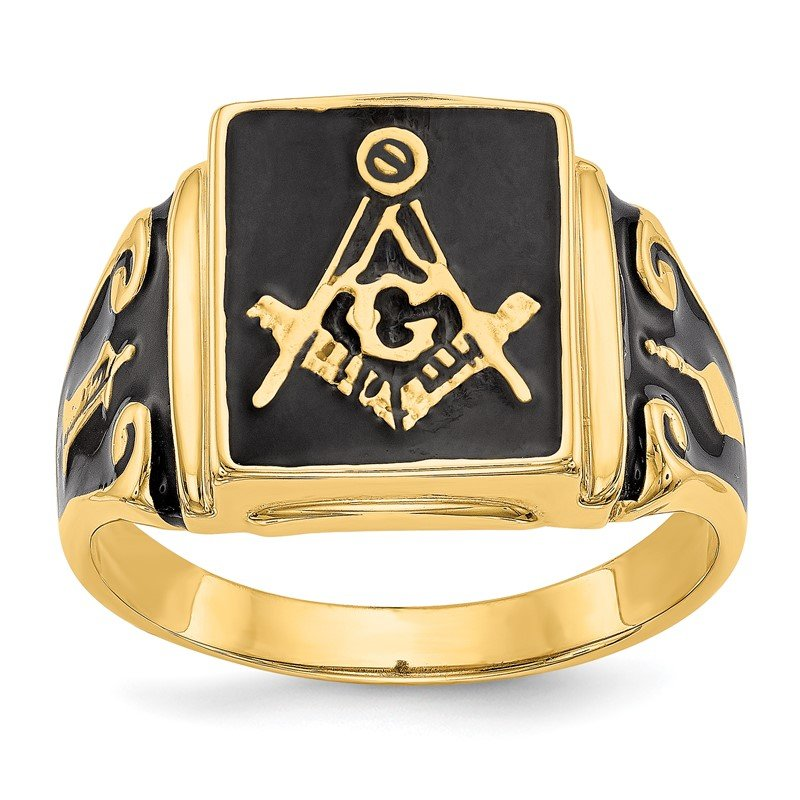 Quality Gold 14k Men's Masonic Enameled Ring