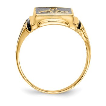 14k Men's Masonic Enameled Ring