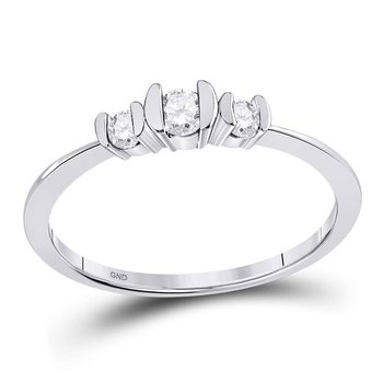 10kt White Gold Womens Round Diamond 3-stone Bridal Wedding Engagement Ring 1/4 Cttw