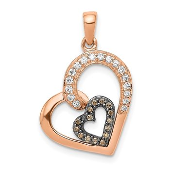 14k Rose Gold Champagne and White Diamond Hearts Pendant