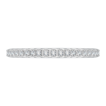 18K White Gold Half-Eternity Diamond Wedding Band with Euro Shank