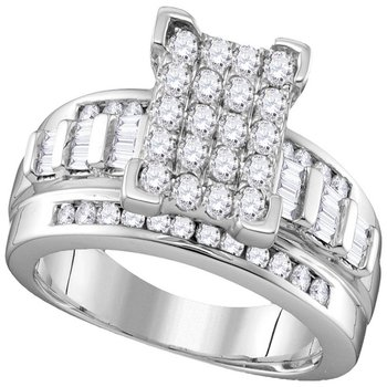 10kt White Gold Womens Round Diamond Rectangle Cluster Bridal Wedding Engagement Ring 7/8 Cttw - Size 8.5