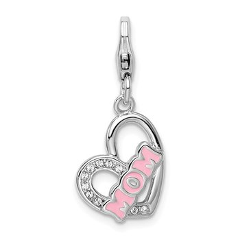 Sterling Silver RH Enameled w/Swarovski Mom Heart Lobster Clasp Charm