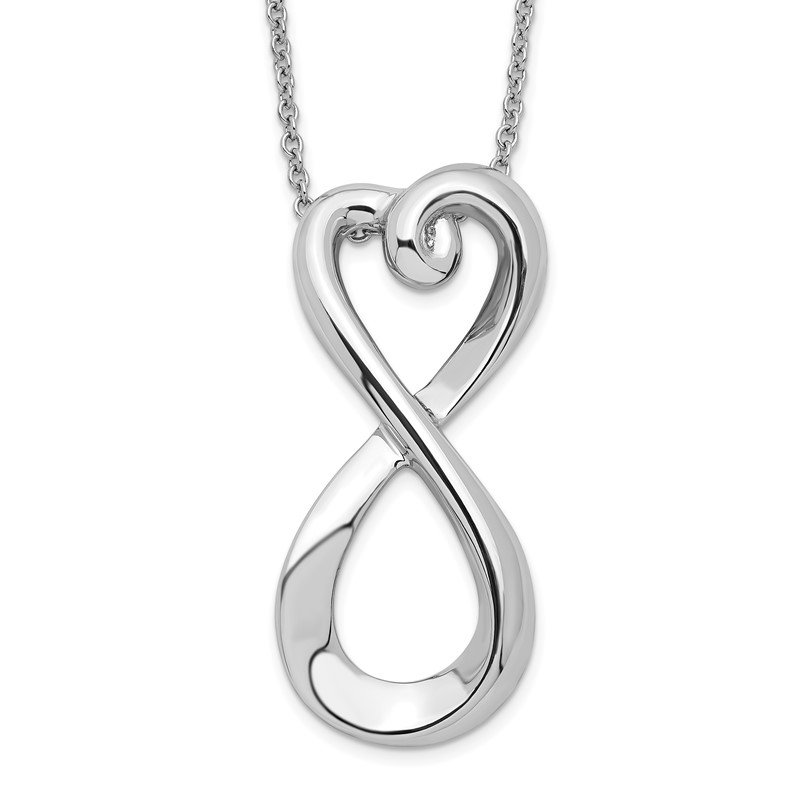 Quality Gold Sterling Silver Polished Infinite Love 18in Necklace