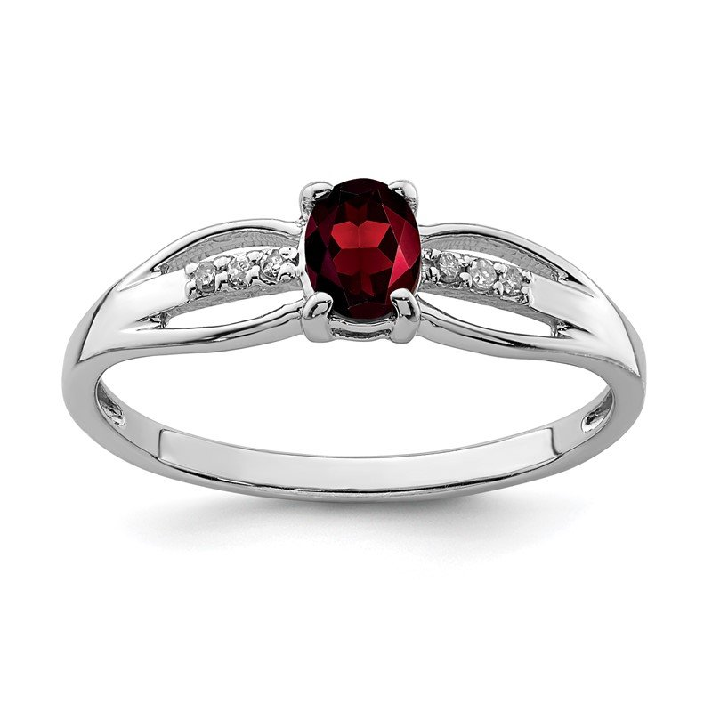 Quality Gold Sterling Silver Rhod-plated Diamond Garnet Ring